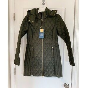 NWT Joules Quilted Green Hooded Coat - Size 4